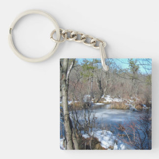 Frozen Wetlands Pond Double-Sided Square Acrylic Keychain
