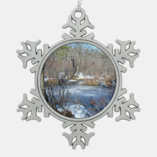 Frozen Wetlands Pond Snowflake Pewter Christmas Ornament