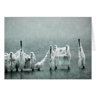 Frozen Winter Boat Docks Greeting Card