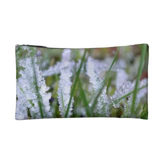 Frozen Winter Grass Cosmetic Bag