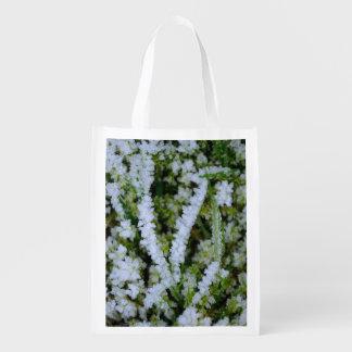 Frozen Winter Grass Reusable Grocery Bag