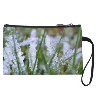 Frozen Winter Grass Wristlet Wallet
