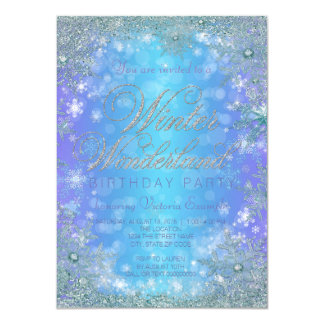 Frozen Winter Wonderland Birthday Party 4.5x6.25 Paper Invitation Card