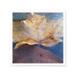 Frozen Yellow Maple Leaf Autumn Nature Paper Napkin