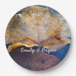 Frozen Yellow Maple Leaf Autumn Nature Paper Plate