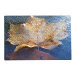 Frozen Yellow Maple Leaf Autumn Nature Placemat