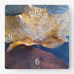 Frozen Yellow Maple Leaf Autumn Nature Square Wall Clock