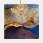 Frozen Yellow Maple Leaf Ceramic Ornament