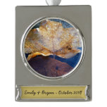 Frozen Yellow Maple Leaf Silver Plated Banner Ornament