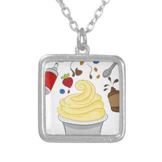 Frozen Yogurt with Toppings Square Pendant Necklace