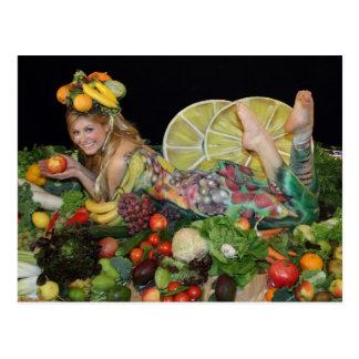 früchte obst postkarte, post card, vegetarian card postales