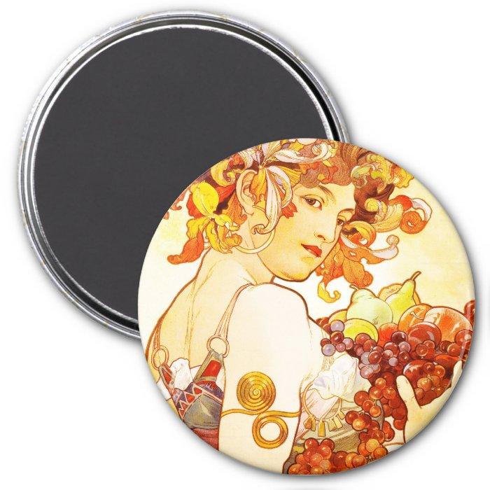 Fruit, Alphonse Mucha - Magnet