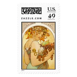 Fruit, Alphonse Mucha - Postage Stamp