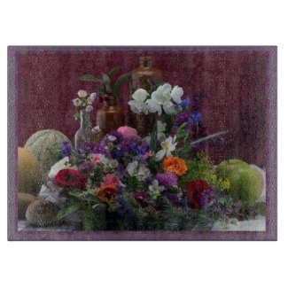 Fruit and Flowers Still Life Glass Cutting Board