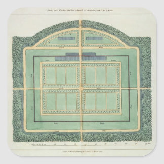 Fruit and Kitchen garden,from 'Hints on the Format Square Sticker
