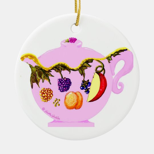 Fruit and Leaves Pattern Teapot & Teacup Ornament