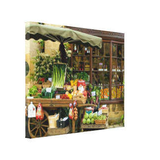 Fruit and Veg Colorful English Village Store Canvas Print
