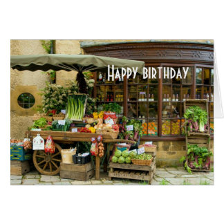 Fruit and Veg Colorful English Village Store Card