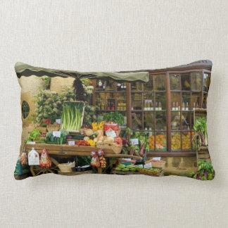 Fruit and Veg Colorful English Village Store Lumbar Pillow