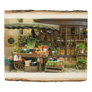 Fruit and Veg Colorful English Village Store Wood Panel