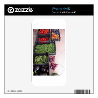 Fruit and vegetable boxes decal for iPhone 4