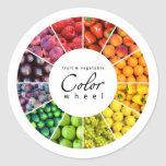 Fruit and vegetable color wheel (12 colors) classic round sticker