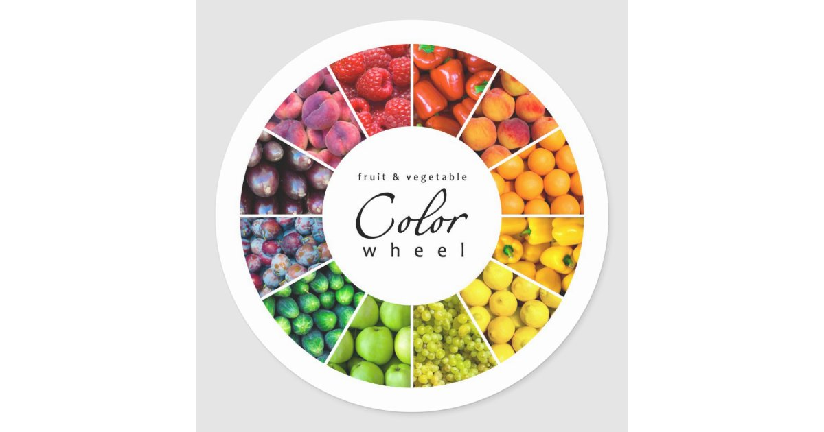 fruit and vegetable color wheel 12 colors classic round sticker zazzle. Black Bedroom Furniture Sets. Home Design Ideas