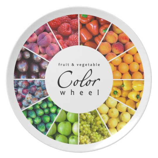 Fruit and vegetable color wheel (12 colors) melamine plate