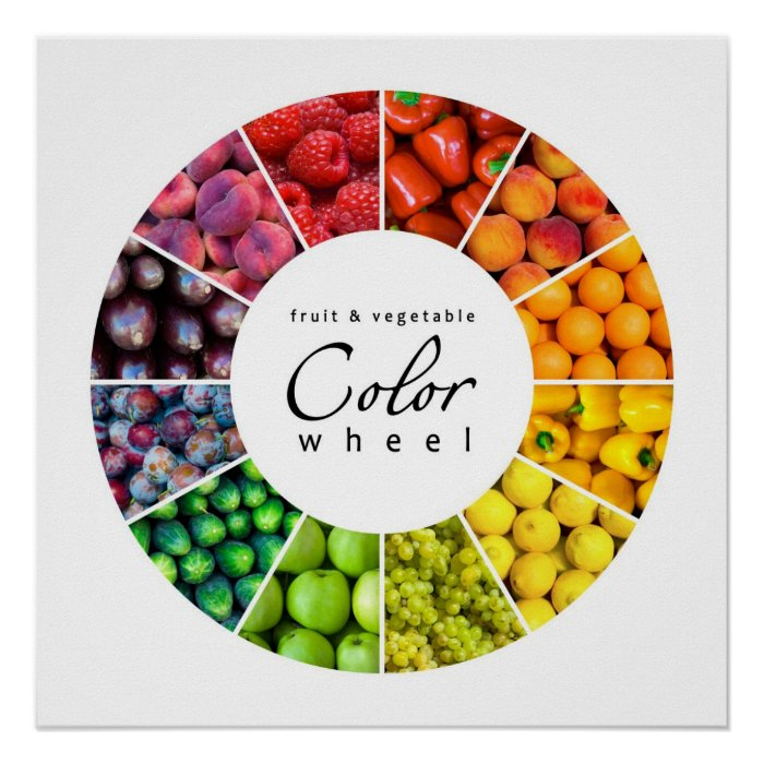 Fruit and vegetable color wheel (12 colors) poster | Zazzle