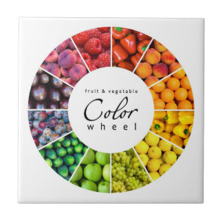 Fruit and vegetable color wheel (12 colors) small square tile