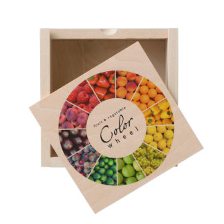 Fruit and vegetable color wheel (12 colors) wooden keepsake box