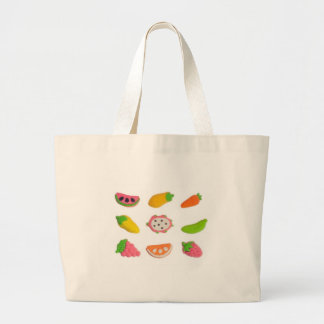 Fruit and vegetable shaped gummy candy large tote bag