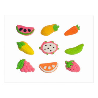 Fruit and vegetable shaped gummy candy post card