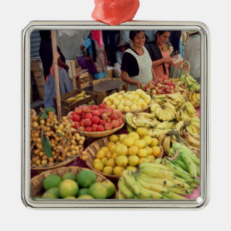 Fruit and vegetable stall square metal christmas ornament