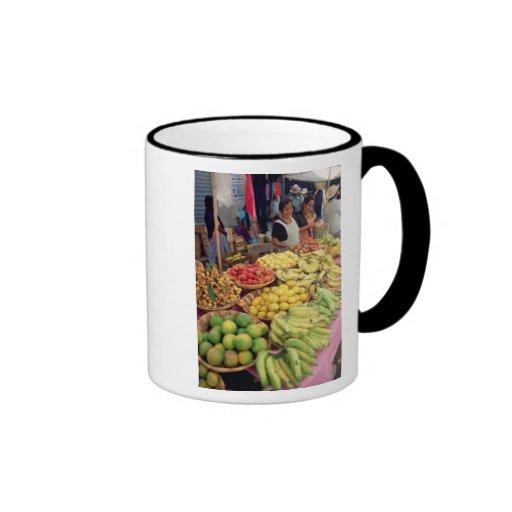 Fruit and vegetable stall ringer coffee mug