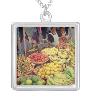 Fruit and vegetable stall silver plated necklace