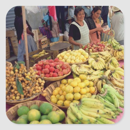 Fruit and vegetable stall square sticker