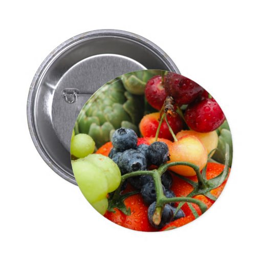 Fruit and Vegetables 2 Inch Round Button