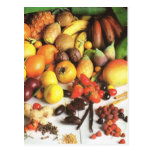Fruit and vegetables, exotic fruits postcard