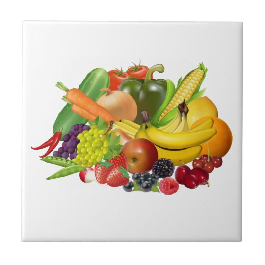 Fruit And Vegetables Pretty Kitchen Tile Or Trivet Zazzle Com