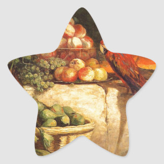 Fruit and Vegetables with a Parrot by Eugene Boudi Star Sticker