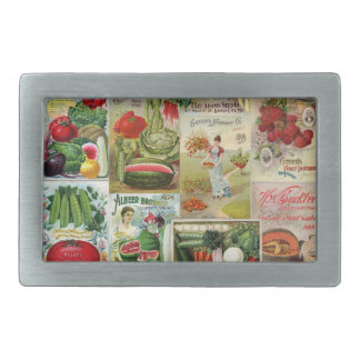 Fruit and Veggies Seed Catalog Collage Belt Buckles