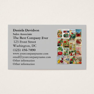 Fruit and Veggies Seed Catalog Collage Business Card