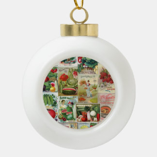 Fruit and Veggies Seed Catalog Collage Ceramic Ball Christmas Ornament