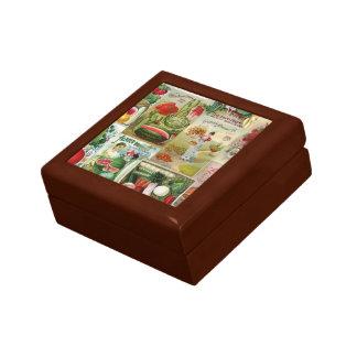 Fruit and Veggies Seed Catalog Collage Trinket Box