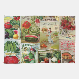 Fruit and Veggies Seed Catalog Collage Kitchen Towel