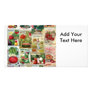 Fruit and Veggies Seed Catalog Collage Custom Photo Card