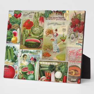 Fruit and Veggies Seed Catalog Collage Photo Plaque