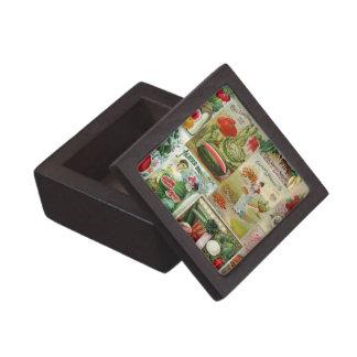 Fruit and Veggies Seed Catalog Collage Premium Trinket Box