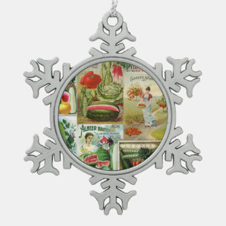 Fruit and Veggies Seed Catalog Collage Snowflake Pewter Christmas Ornament